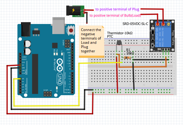 Relay circuit that controls the temperature